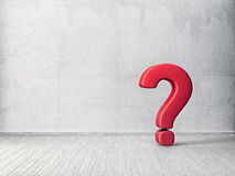 Question sign. In empty room. 3d illustration Royalty Free Stock Photography