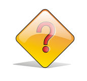 Question Sign Icon. A Simple question sign stand-up in the white floor and shadowed Royalty Free Illustration