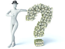Question sign from packs of dollar  on white. 3d man Royalty Free Stock Photography