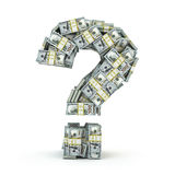 Question sign from packs of dollar  on white. Where to invest money concept. 3d Stock Photography