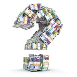 Question sign from packs of euro  on white. Where to invest money concept. 3d Stock Image