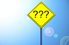 Question sign on road sign Stock Images