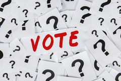 Question sign with text of vote Royalty Free Stock Photo