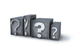 Question signs. Made of letterpress metal letters Stock Photo