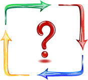 Question in a square from color arrows. Stock Photography