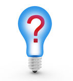 Question symbol  lamp bulb Stock Image