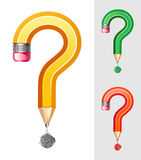 Question symbol made of pencil Stock Image