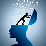 Question symbol and man head Stock Photos