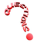 Question text. Red Questions text in the form of a question mark Royalty Free Stock Images