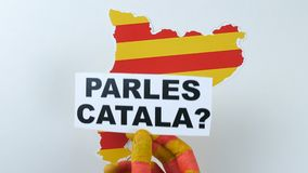 Question to people, do you speak Catalan, illustration. Catalonia in background. stock video