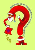 The question treset Santa s sack. Gift figures 2018 . In a red suit. Cute cartoon illustration. Card. The question treset Santa s sack. Gift figures 2018 . In a Royalty Free Stock Photography