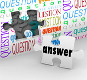 Question Wall Puzzle Piece Answer Complete Understanding. The word Answer on a puzzle piece to symbolize the quest for understanding in answering questions and Royalty Free Stock Images