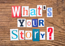 Question `What`s your story?`on wooden background Royalty Free Stock Photos