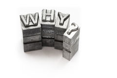 Question word, who, what, when, where, why, letterpress,. Question word letterpress lighting in studio stock photo
