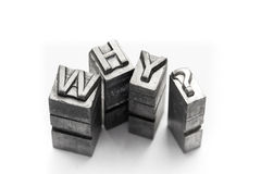 Question word, who, what, when, where, why, letterpress,. Question letterpress, lighting in studio stock photos