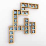 Question words crossword shelf Stock Photography