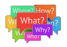 Question words in speech bubbles. Question words What Where Why When Who and How in colorful speech bubbles isolated on white background. Confusion, QnA and Stock Images