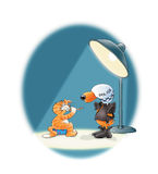 Questionable behaviour. Police Dog in motorcycle helmet and leather jacket questioning happy ginger cat with party whistle under bright light stock illustration