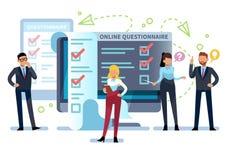 Questionario online La gente compila la forma di indagine di Internet sul pc Lista dell'esame, riuscita prova del computer, quiz  illustrazione vettoriale