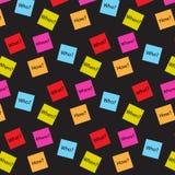 Questione palavras no fundo dispersado quadrado do preto do teste padrão Imagens de Stock
