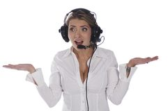 Questioning air traffic controller Royalty Free Stock Image