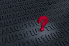 Questioning Computer Data. A red ? stands out in a dark background filled with binary computer code receding into the distance Royalty Free Stock Image