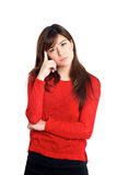 Questioning hand gesture woman in red Stock Images
