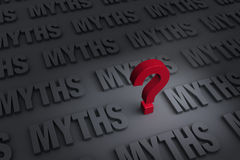 Questioning Myths. A red ? stands out in a dark background of gray MYTHS receding into the distance Stock Images