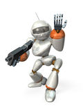 The questioning by a robot. Robot laden rifle. ,, computer generated image Stock Image