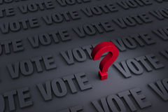 Questioning The Vote. A red question mark stands out in a dark background of gray VOTEs receding into the distance Stock Image