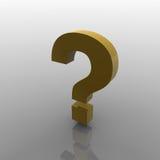 questionmark 3d Gelb lizenzfreie stockbilder