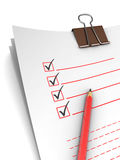 Questionnaire. 3d illustration of questionnaire with pencil, over white background Stock Photos