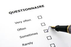 Questionnaire. With the sometimes option ticked Royalty Free Stock Images