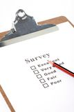 Questionnaire. A Clipboard and questionnaire with white background Stock Images