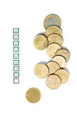 Questionnaire. Business concept and several euro coins Stock Photography
