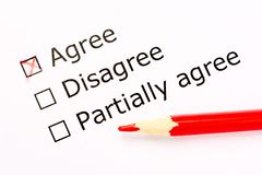 Questionnaire. Choice of acceptance in feedback survey with red pencil. Close up. Questionnaire. Choice of acceptance in feedback survey with red pencil. Close royalty free stock photography