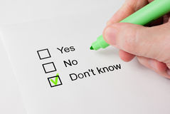 Questionnaire with choices. 'Don't known' Royalty Free Stock Photos