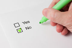 Questionnaire with choices. 'No' Stock Images