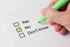 Questionnaire with choices. 'No' Royalty Free Stock Photography