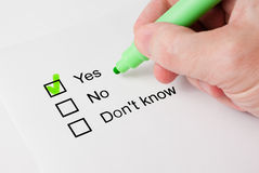 Questionnaire with choices. 'Yes' Royalty Free Stock Images