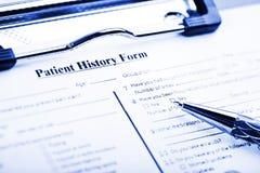 Questionnaire d'antécédents médicaux Photo stock