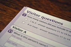 Questionnaire de visiteur Photo stock