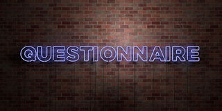 QUESTIONNAIRE - fluorescent Neon tube Sign on brickwork - Front view - 3D rendered royalty free stock picture Stock Photography