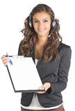 Questionnaire girl showing a survey Stock Images