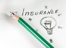 Questionnaire. green pencil inscription Insurance on white paper stock photo