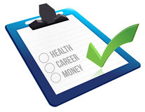 Questionnaire interview. About health career and money illustration design Royalty Free Stock Photography