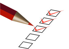 Questionnaire with red pen Stock Photography