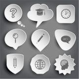 Questionnez le signe, chapeau d'obtention du diplôme, horloge, loupe, crayon, cha illustration stock