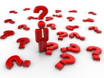 Questions. People icon surrounded by question marks - 3d render Royalty Free Stock Image