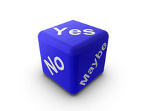 Questions. 3d Illustration of a blue cube/dice with the words 'Yes', 'No', and 'Maybe Royalty Free Stock Images